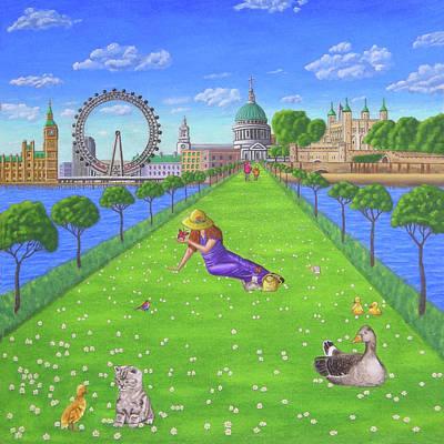London Eye Painting - Cityscape Paintings London Monuments And Millennium Bridge by Luigi Carlo