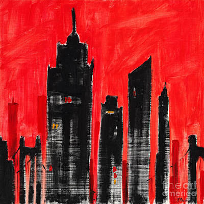 Empire State Building Painting - Cityscape Red by Paul Brent