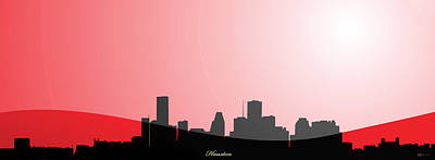 Upscale Digital Art - Cityscapes - Houston Skyline In Black On Red by Serge Averbukh