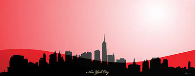 Cities Digital Art - Cityscapes- New York City Skyline In Black On Red by Serge Averbukh