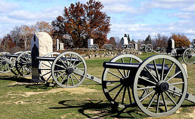 Civil War Battle Site Photograph - Civil War Cannons At Gettysburg National Battlefield by Brendan Reals