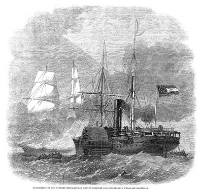 Nashville Painting - Civil War Naval Battle, 1861 by Granger