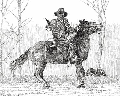 Drawing - Civil War Reenactor On Horseback by Stephany Elsworth