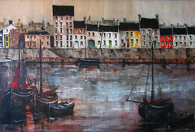 Cladagh Harbour In Galway Print by Val Byrne