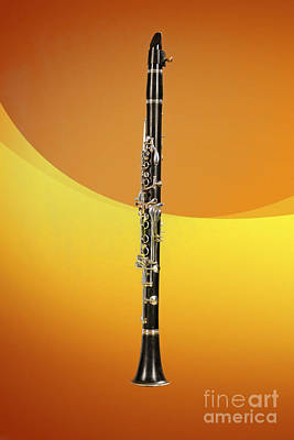Music Photograph - Clarinet Music Instrument In Color Yellow 3257.02 by M K  Miller