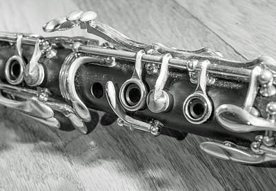 Music Photograph - Clarinet On Wood Black And White by Photographic Arts And Design Studio