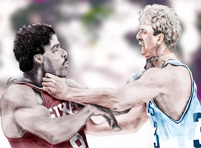 Larry Bird Painting - Clash Of The Titans 1984 - Bird And Doctor  J by Reggie Duffie
