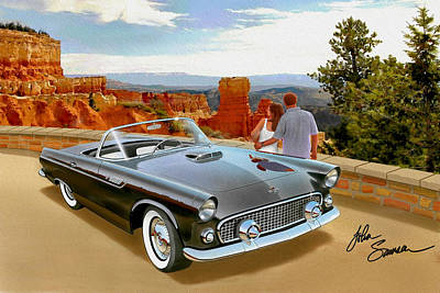 Classic 1955 Thunderbird At Bryce Canyon Black  Print by John Samsen