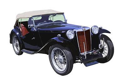 Black Top Digital Art - Classic Black Mg Tc Convertible British Sports Car  by Keith Webber Jr