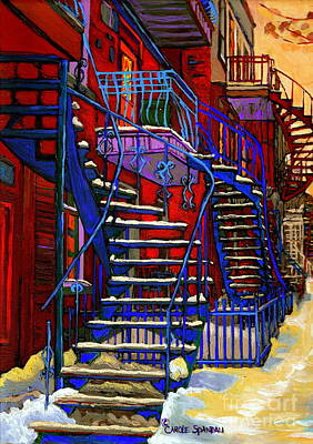 Montreal Winter Scenes Painting - Classic Blue Winding Staircase Montreal Winter City Scene Painting  By Carole Spandau by Carole Spandau