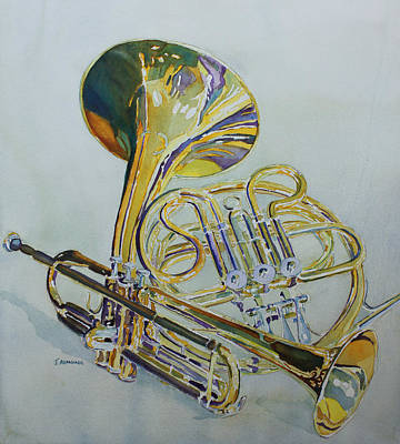 Shining Painting - Classic Brass by Jenny Armitage