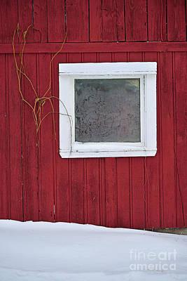 Red Barn In Winter Photograph - Classic Canada by Joshua McCullough