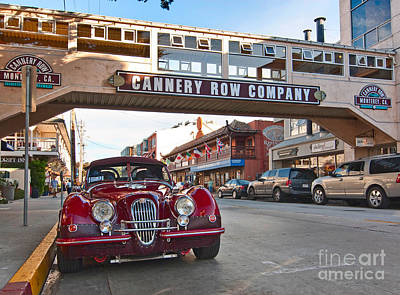 Classic Cannery Row - Monterey California With A Vintage Red Car. Print by Jamie Pham
