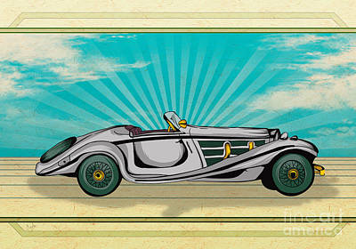 Historic Vehicle Mixed Media - Classic Cars 02 by Bedros Awak