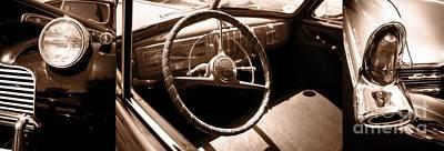Headlight Photograph - Classic Cars by Edward Fielding