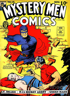 Classic Comic Book Cover - Mystery Men Comics - 1200 Print by Wingsdomain Art and Photography