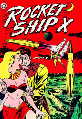 Space Ships Photograph - Classic Comic Book Cover - Rocket Ship X - 1225 by Wingsdomain Art and Photography