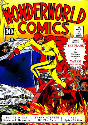 Classic Comic Book Cover - Wonderworld Comics The Flame - 1028 Print by Wingsdomain Art and Photography