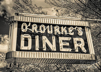 Classic Diner Neon Sign Middletown Connecticut Print by Edward Fielding