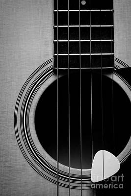 Classic Guitar In Black And White Print by Paul Ward