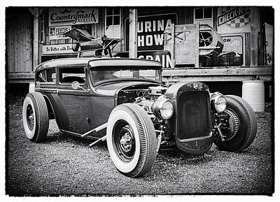 Classic Hot Rod In Black And White Print by Thomas Young