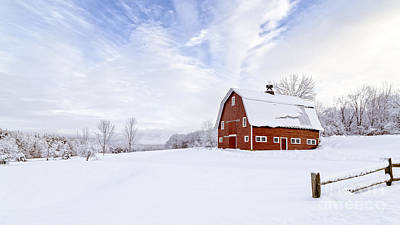 Red Barn. New England Photograph - Classic New England Red Barn In Winter by Edward Fielding