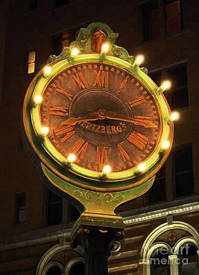 Classic Nostalgic Americana Clock Downtown San Antonio Accented Edges Digital Art Print by Shawn O'Brien