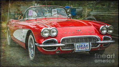 Classic Red Corvette Print by Perry Webster