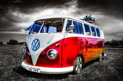 Vw Camper Van Photograph - Classic Red Vw Campavan by Ian Hufton
