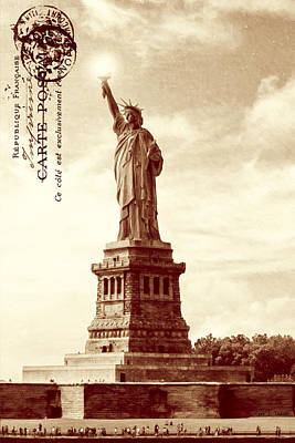Statue Of Liberty Photograph - Classic Statue Of Liberty - Sepia Tone by Mark E Tisdale
