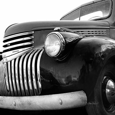 Classic Truck Grill Black And White Photograph Print by Ann Powell