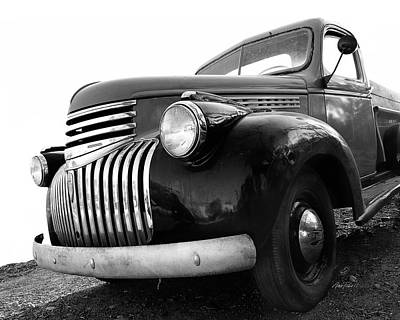 Classic Truck In Black And White Print by Ann Powell