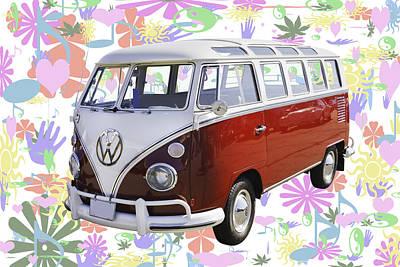 Classic Vw 21 Window Mini Bus Print by Keith Webber Jr