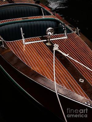 Classic Wooden Power Boat Print by Edward Fielding