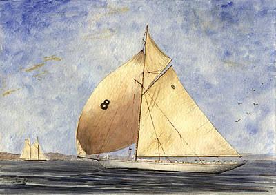 Sail-ship Painting - Classic Yacht Barcelona by Juan  Bosco