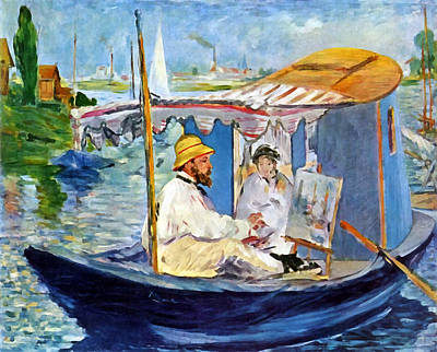 Water Vessels Digital Art - Claude Monet In Argenteuil by Edouard Manet