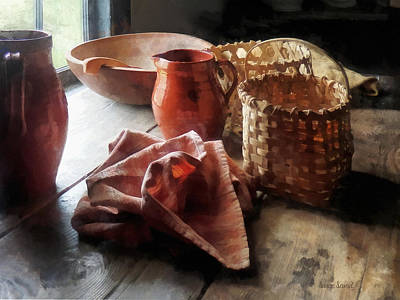 Wooden Bowl Photograph - Clay Pitchers Bowl And Baskets by Susan Savad