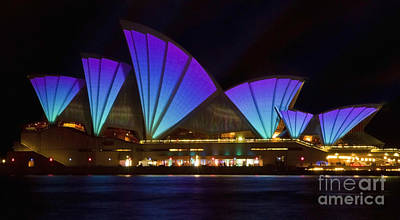 Photograph - Clear Blue Sails - Sydney Vivid Festival - Sydney Opera House by Bryan Freeman