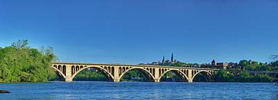 Clear Blue Skies At Key Bridge Print by Metro DC Photography