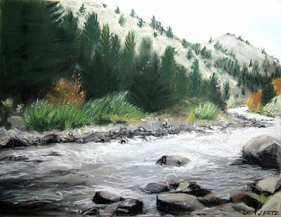 White Water Rafting Painting - Clear Creek by Jen J Ketz