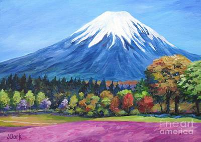 Phlox Painting - Clear Day Mount Fuji by John Clark