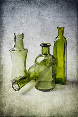 Clear Green Bottles Print by Garry Gay