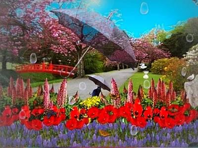 Garden Scene Mixed Media - Clearing Showers by Nancy Pauling