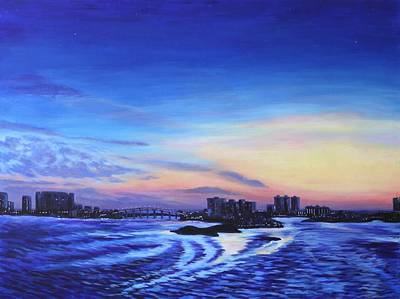 Water Painting - Clearwater Beach Sunset by Penny Birch-Williams