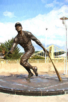 Roberto Clemente Digital Art - Pnc Clemente Statue Oil Painting Look by Stephen Falavolito