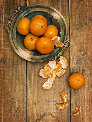Clementines On Wooden Board Print by Amanda And Christopher Elwell
