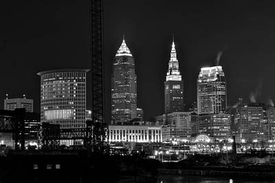Black Commerce Photograph - Cleveland Black And White Night II by Frozen in Time Fine Art Photography