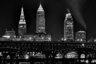 Black Commerce Photograph - Cleveland Black And White Night by Frozen in Time Fine Art Photography