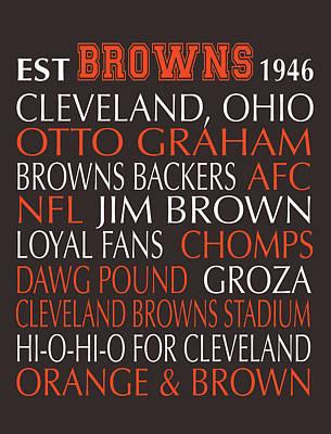 Subway Art Digital Art - Cleveland Browns by Jaime Friedman