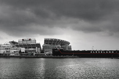 Black And White Photograph - Cleveland Browns Stadium From The Inner Harbor by Kenneth Krolikowski
